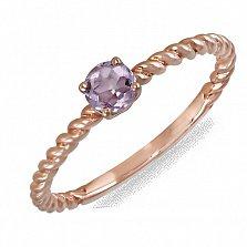 Кольцо из красного золота с аметистом Адель