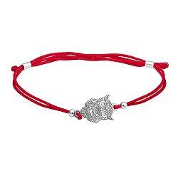Шелковый браслет с серебряной вставкой Сова