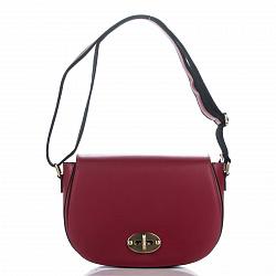 Кожаная сумка на каждый день Genuine Leather 3275 красного цвета на клапане с поворотным механизмом