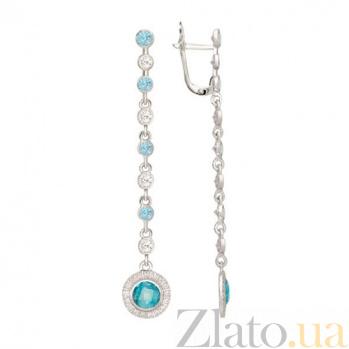 Серьги-подвески с голубым цирконием Джулия VLT--Т2375