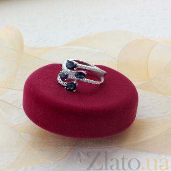 Серебряное кольцо Нежные ветви с гидротермальными сапфирами и фианитами 000063065