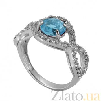 Серебряное кольцо с голубым цирконием Аурика 000018785