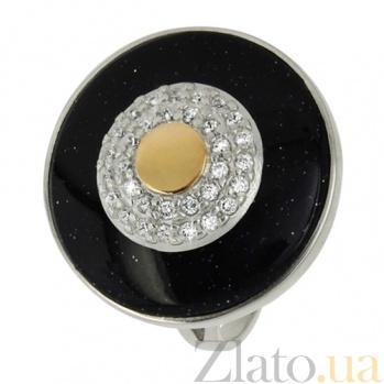 Серебряное кольцо Миллениум с золотыми вставками и ониксом BGS--539к