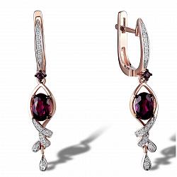 Серьги из красного золота Алла с бриллиантами и родолитами 000064561