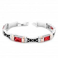Серебряный браслет Самира с золотыми накладками, красными и белыми фианитами, черной эмалью
