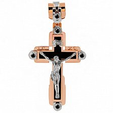Крест из комбинированного золота Небеса с агатом (ониксом) и бриллиантами
