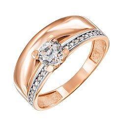 Золотое кольцо в комбинированном цвете с фианитами 000123817