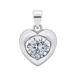 Серебряный кулон-сердце с цирконием 000131853