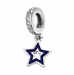 Серебряный шарм-подвеска Звездочка с синей эмалью и фианитами 000116417