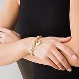 Золотой браслет Красота спасет мир с цирконием