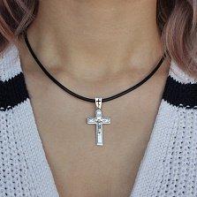 Крестик из серебра Силы Небесные ІНЦІ ІС ХС с родированием
