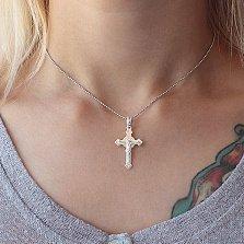Серебряный крестик Утешитель Души с насечкой