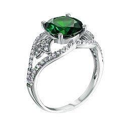 Серебряное кольцо Мадлен с зеленым кварцем и фианитами