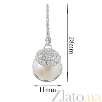 Золотые серьги с жемчугом и фианитами Ракушка 000026571