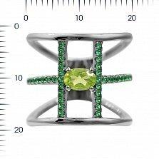 Серебряное корсетное кольцо Долорес с хризолитом и зелеными фианитами