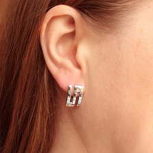 Серебряные серьги Лабиринт с фианитами