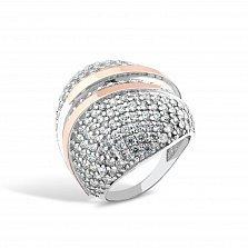 Серебряное кольцо Элизабетта с золотыми накладками, фианитами и родием