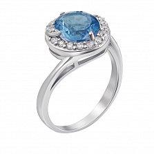 Серебряное кольцо Сондра с голубым топазом и фианитами