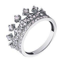 Кольцо-корона из белого золота с фианитами и родированием 0000364112