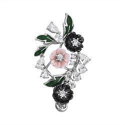 Серебряный кулон с розовым и черным перламутром, зеленой эмалью и фианитами 000113247