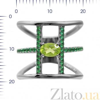 Серебряное кольцо на фалангу Долорес с хризолитом и зелеными фианитами 000081648