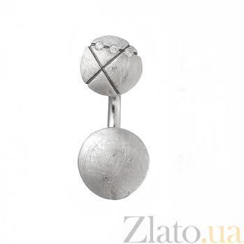 Серебряная серьга с кристаллами циркония Интрига К2-2л кр-кр бц