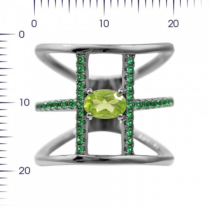 Серебряное корсетное кольцо Долорес с хризолитом и зелеными фианитами 000081648
