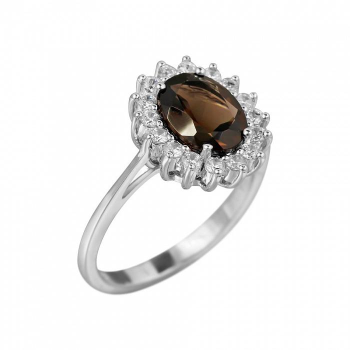 Серебряное кольцо Пелагея с раухтопазом и фианитами 000081572