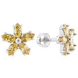 Серебряные серьги пуссеты с жёлтым цирконием Флер