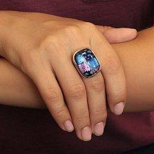 Серебряное кольцо Сине-розовый сон с разомкнутой шинкой и имитацией опала