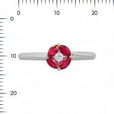 Кольцо из белого золота Мэнди с рубинами и бриллиантом
