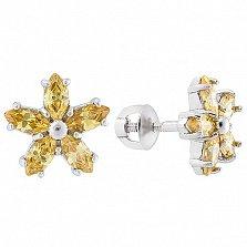 Серебряные серьги-пуссеты Флер с желтым цирконием
