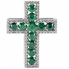 Крест из белого золота Сияние с изумрудами и бриллиантами