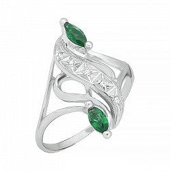 Серебряное кольцо с зелеными фианитами 000028133
