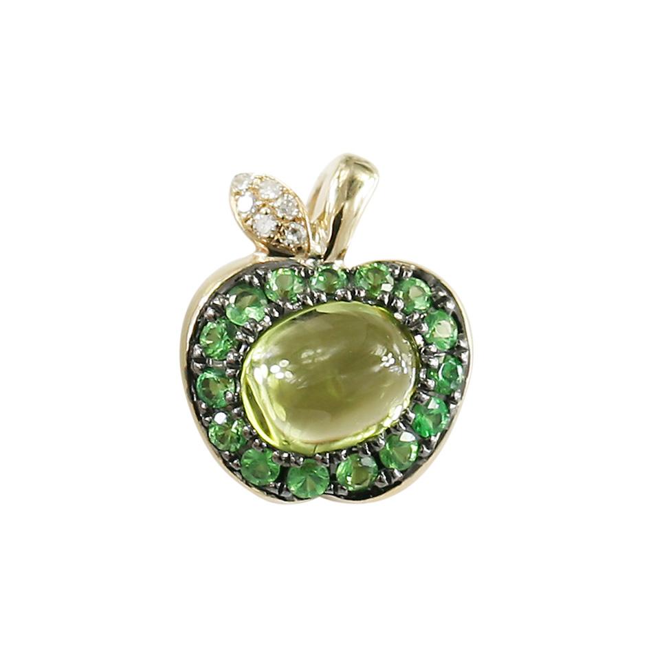 Золотой подвес с хризолитом, цаворитами и бриллиантами Яблоко 000026749