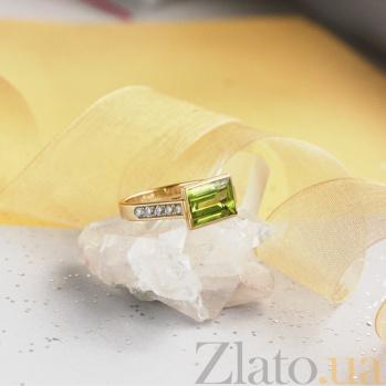 Золотое кольцо с хризолитом и бриллиантами Рандеву 000029543