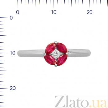 Кольцо из белого золота Мэнди с рубинами и бриллиантом 000080917