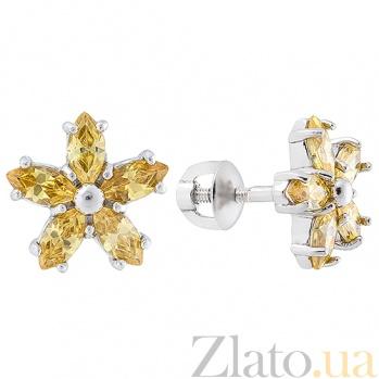 Серебряные серьги пуссеты с жёлтым цирконием Флер 2442/9р жёл
