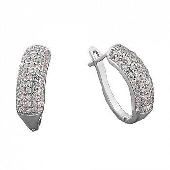 Серебряные серьги с цирконием 000043137