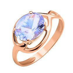 Золотое кольцо Скарлетт в красном цвете с голубым кварцем