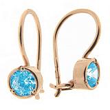 Золотые серьги Мальвина с голубыми фианитами
