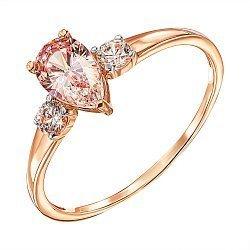 Кольцо в комбинированном цвете золота с розовым и белыми кристаллами Swarovski 000137159