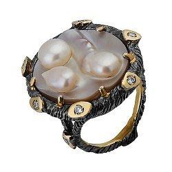 Серебряное кольцо с мазерперлом и цирконием Ариель 000033329
