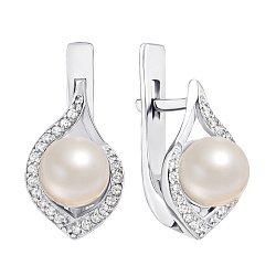 Серебряные серьги Мия с белым жемчугом и цирконием