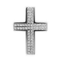 Серебряный декоративный крестик с фианитами 000079071