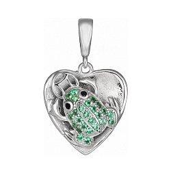 Серебряный кулон Лягушка с зелеными фианитами 000028599
