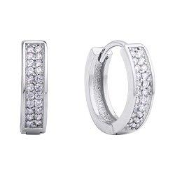 Серебряные серьги-кольца с дорожками фианитов, 15.5мм 000118220