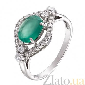 Серебряное кольцо с агатом и фианитами Прага 000008146