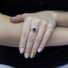 Серебряное кольцо Имма с гранатом и черными фианитами