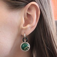 Серебряные серьги-трансформеры Антье с золотыми вставками, зелеными и черными агатами и фианитами